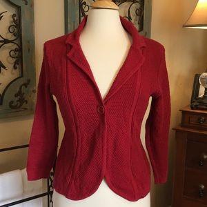Ann Taylor Loft Red Sweater w/ Single Button